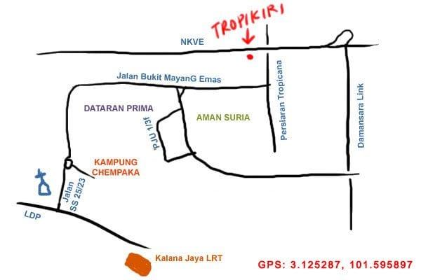 map to Restoran Tropikiri kopitiam