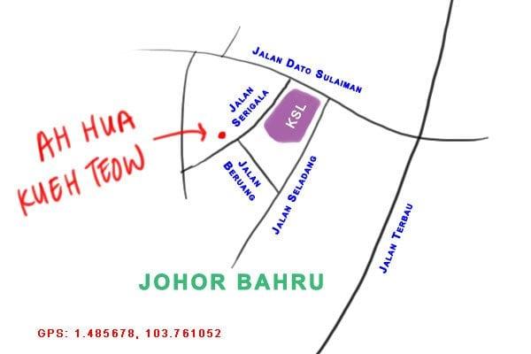 map to Ah Hua Kueh Teow, Johor Bahru, KSL
