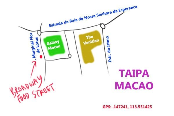map to Broadway food street, Macao