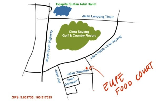 map to Eupe food court, Sungai Petani