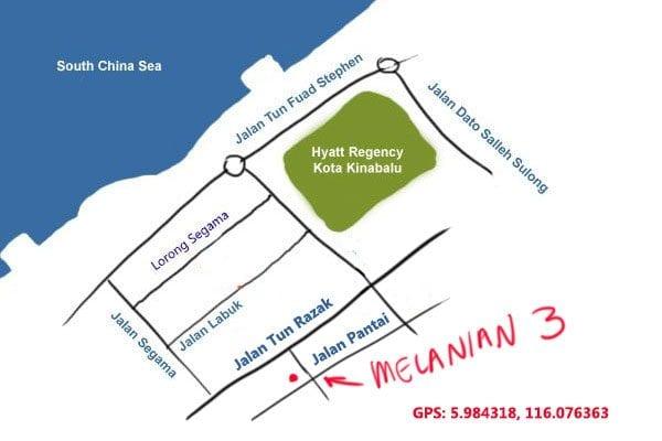 map to Melanian Sang Nyuk Mian, Kota Kinabalu