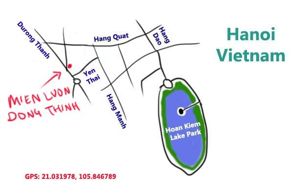 map to eel porridge at hanoi, Vietnam