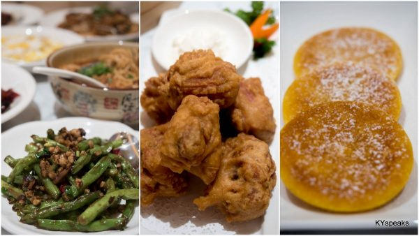 Stir-fried French Bean with Minced Pork, Dynasty Crispy Chicken, Pan-fried Pumpkin Pastry