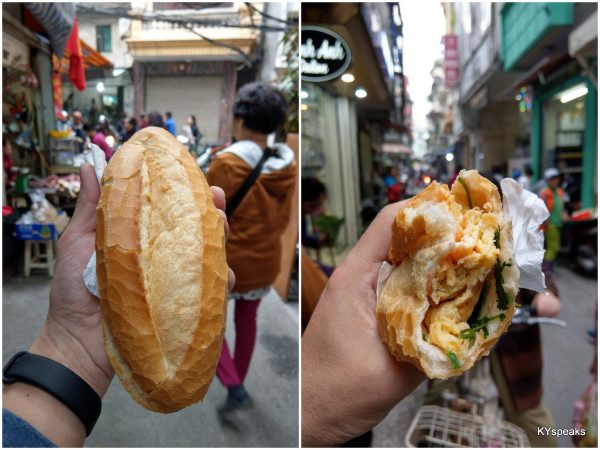 Baguette with freshly cooked omelette