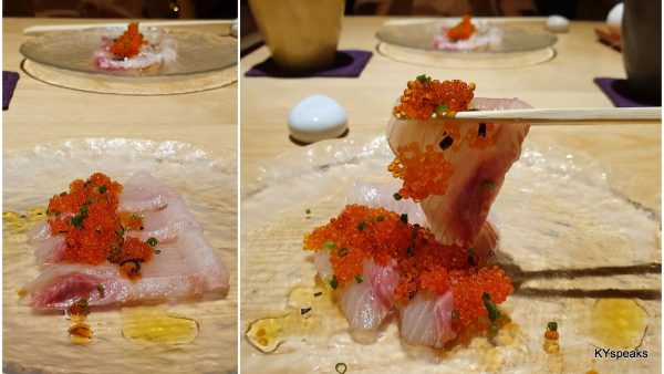 seabream sashimi with ebiko and truffle oil as starter