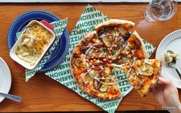 zucchini eggplant chickpea pizza, truffle mac & cheese