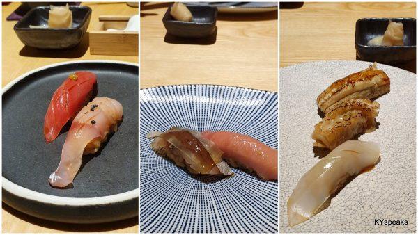 seven pieces of nigri sushi