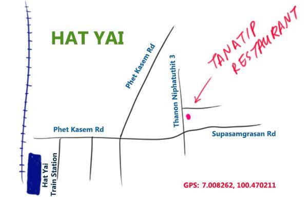 map to tanatip restaurant, hat yai, Thailand