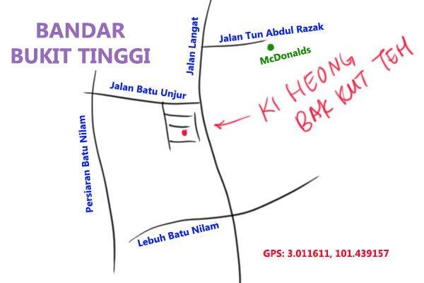map to Ki Heong bak kut teh, Bukit Tinggi