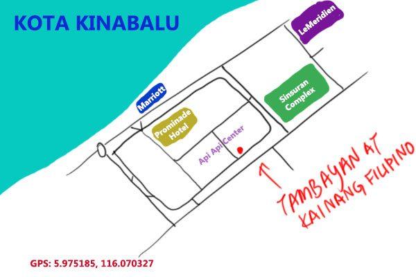 map to Tambayan at Api Api Center, Kota Kinabalu