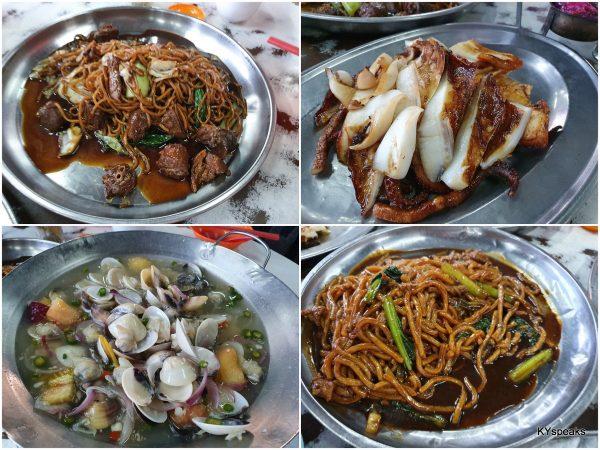 duck noodle, grilled squid, lala, Hokkien mee