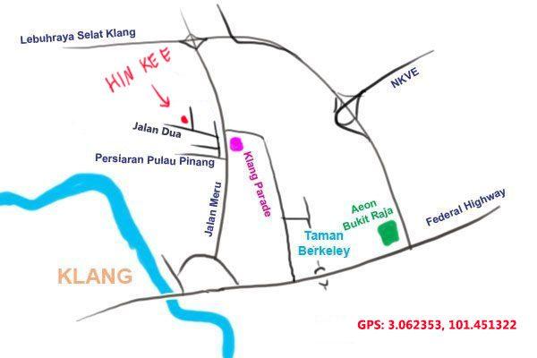 map to Hin Kee, Klang
